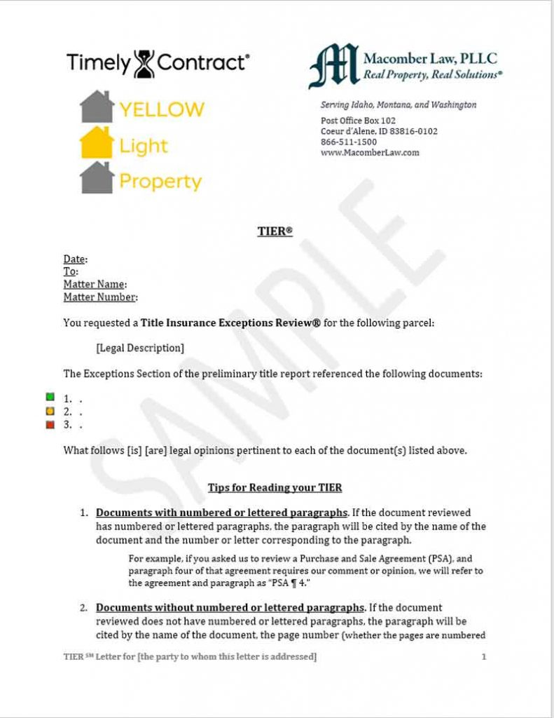 Sample Green Light Certified Letter - Yellow Light Shows Real Estate Issues Need To Be Resolved