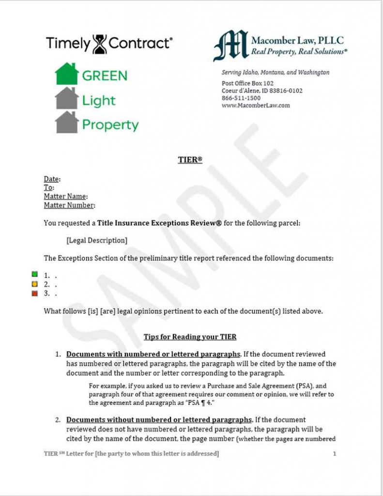 Sample Green Light Certified Letter