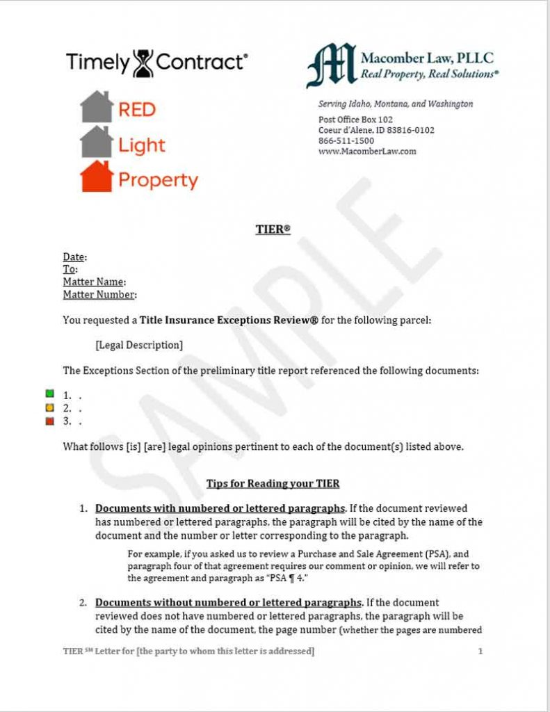 Sample Green Light Certified Letter - Red Light Shows Real Estate Issues Need To Be Resolved